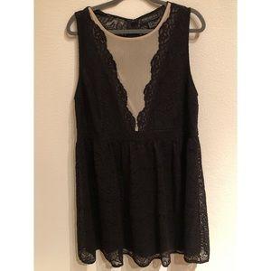 Forever 21 Lace Fit & Flare Dress Mesh VNeck 3X